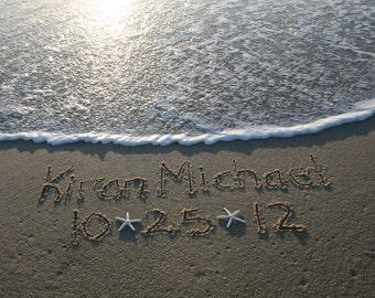 Birth Announcements Written in the Sand Beach Shore Beach Writing Baby Nursery