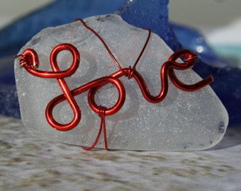 Red Hot Sea Glass Love Valentine Necklace Beach Glass Pendant