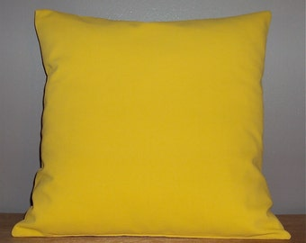 Solid Yellow Cotton Decorative Pillow Cover - Available In 3 Sizes
