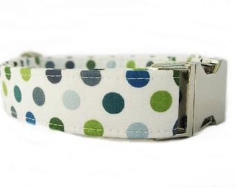 Polka Dot Dog Collar  with Nickel Hardware - Cape Cod Dots Navy Blue Green White