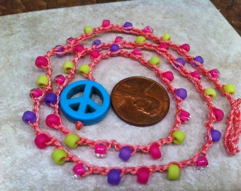 PEACE Little Girl's DREAM Necklace Beaded Crocheted with Sign as pendant Inspired by Nica ages 4 to 10 Durable Sturdy Long lasting
