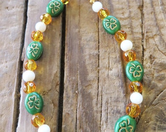 Irish Green Gold White Czech Glass Shamrock Bracelet