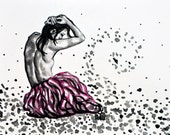 Original watercolour and ink painting on paper - pink tutu