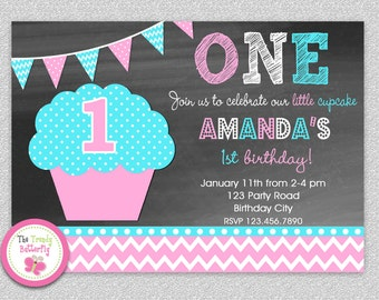 1st Birthday Cupcake Invitation , Chalboard 1st Birthday Cupcake Party Invitation Printable