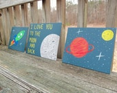 I Love You To The Moon and Back Outer Space paintings, Boy Room Decor, Rocket art, Space Nursery set of 2 canvas boards
