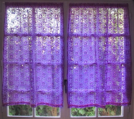 Purple Lace Curtains Pair French Lace Panels Bedroom