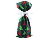 ON SALE -- Green Fabric Wine Bag or Small Gift Bag for Christmas Holiday