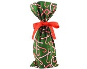 ON SALE -- Dark Green Wine Bottle Bag or Small Gift Bag with Candy Canes for Christmas Holidays