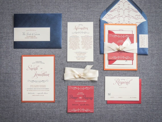 Vintage Wedding Invitations, Red and Blue Invitations