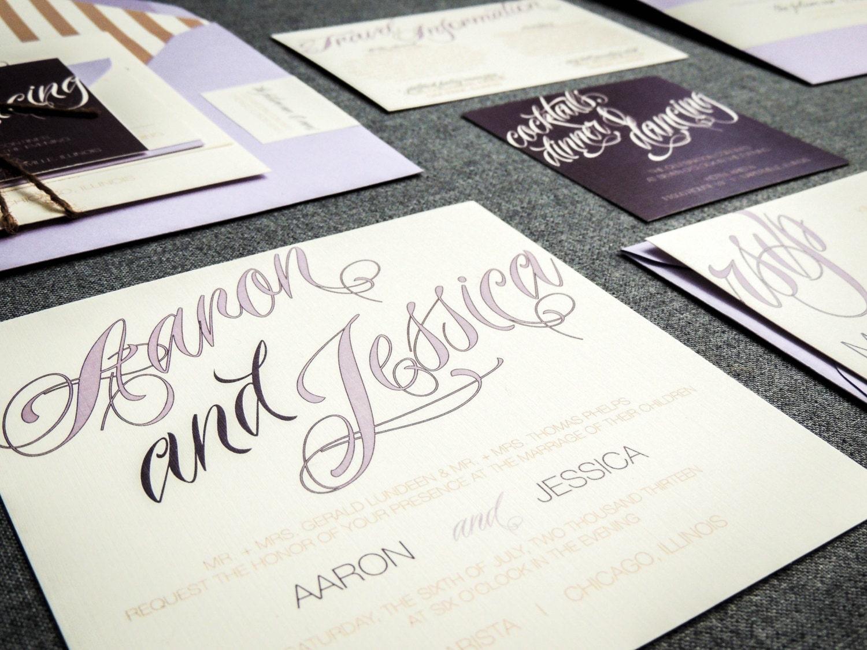 Purple Rustic Wedding Invitations: Purple Wedding Invitations Rustic Wedding By JulieHananDesign