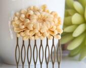 RESERVED-Ivory Chrysanthemum Hair Comb-Maid Of Honor,Anniversary Gift,Shabby Chic Flower Comb