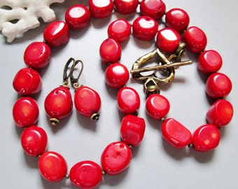 Red Coral Necklace with Bronze Heart
