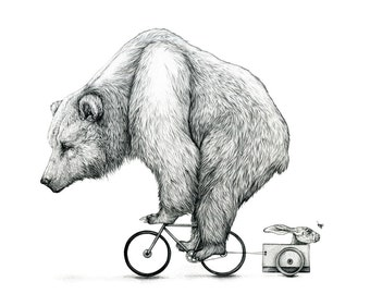 Bear Biking - Limited edition print of a bear riding a bike with a hae and moth in tow - from an original drawing/illustration