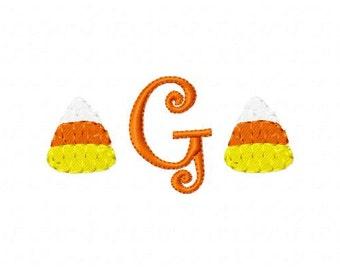 Candy Corn Mini Monogram Machine Embroidery Design Font Set  Joyful Stitches // Joyful Stitches