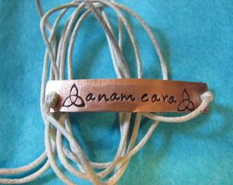 Anam Cara Wrap Bracelet - Hand Stamped Metal Jewelry