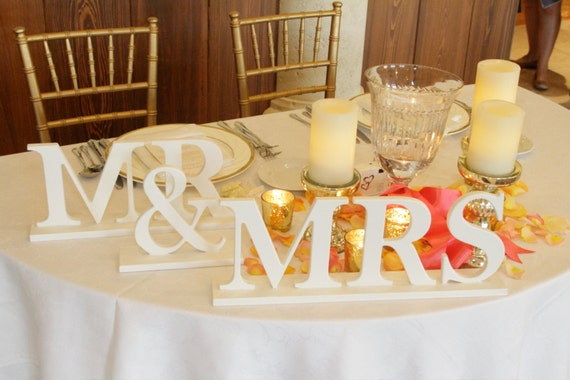 Signs for Wedding Reception - Metallic, Wooden Decor, Mr. and Mrs. or Bride & Groom