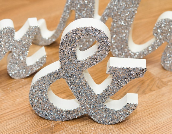 Mr And Mrs Wedding Signs Glittered Or Colorful By