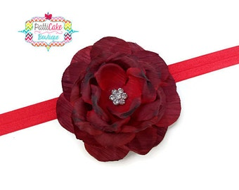 Baby Headband, Red Flower Headband, Infant Headband, Red Flower Hair Clip, Red Headband, Christmas Flower Headband, Toddler Headband, 101