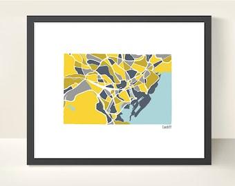Cardiff Wales City Map - Original Illustration Print