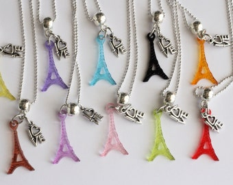Romance In Paris France I Love You 10 Party Favor Mixed Colors Necklaces Eiffel Tower
