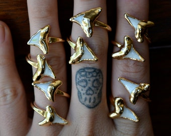 Double Shark Tooth Ring /// Shark Tooth Wrap /// Gold