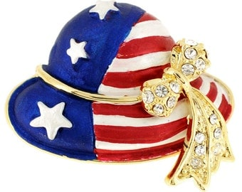July 4th Hat Pin American Flag Pin Brooch 1012801