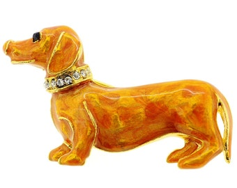 Golden Brown Dachshund Dog Pin Brooch 1000371