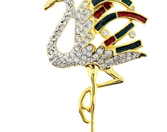 Christmas Flamingo Pin Crystal Bird Pin Brooch 1012712