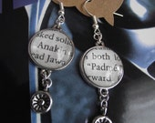 """Star Wars Earrings """"Anakin"""" and """"Padme"""" made from Actual Book Page"""