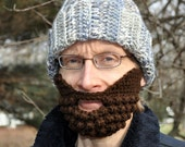 Beard for a Beanie Hat, Adult Medium, Brown, Sensations Sincerely Yarn