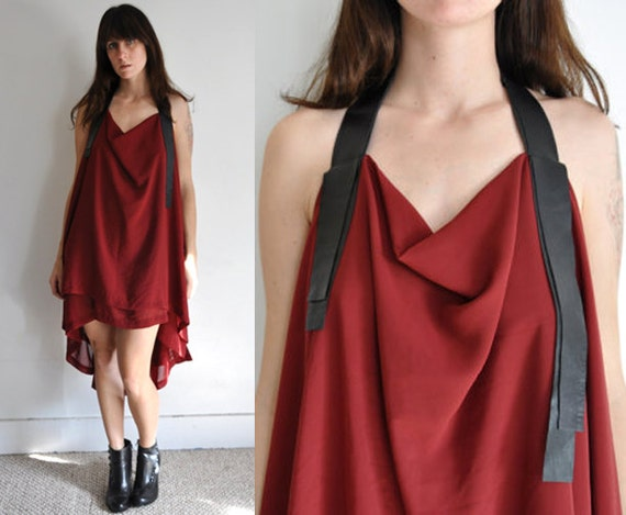 Sheer Maroon Leather Strap Halter Dress with Open Back - Made to Order