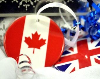 Canadian Flag of Canada Maple Leaf Ceramic Hanging Ornament Decoration