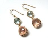 Prasiolite green and peach glass gold dangle earrings.  Bridal earrings.  Bridesmaids earrings.  Bridesmaid earrings. Wedding jewelry.