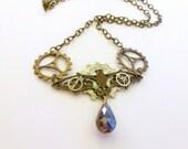 bat necklace, Steampunk bat gear jewelry, Chiroptera pendant, steampunk jewelry, geek bat pendant necklace