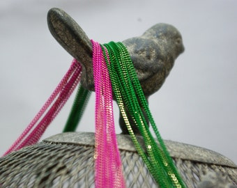 shiny pink and green chains