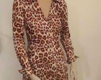 1970's Classic Wrap Poly Knit Leopard Print Dress Size Small
