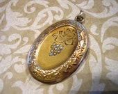 Antique Edwardian Mourning Locket Grapes with Seed Pearls