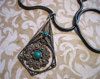Vintage Sterling Silver Turquoise Filigree Necklace