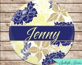 Bridal Party Custom Gift- Purse Mirror - Navy and Cream Lamour