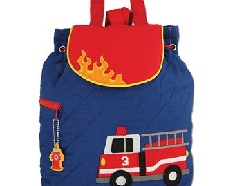 New Fire Truck Monogrammed Back Pack Stephen Joseph