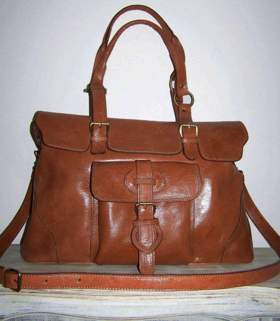CARAMEL Leather Tote--- Shoulder Cross-body Bag Johanna XXL fits a 15 inches Laptop