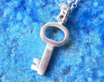 Small skeleton key silver necklace - valentine jewelry key charm gift girl mom