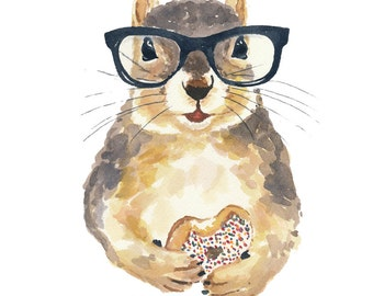 Squirrel PRINT Watercolor Painting - 11x14 Print, Nerd Squirrel, Hipster Glasses, Donut Art