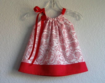 Baby Girls Red and White Damask Dress and Bloomers Outfit - Infant White Dress with Red Flowers - Size  Newborn, 3m, 6m, 9m, 12m or 18m