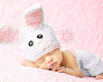 Bunny hat pant set, bunny hat, diaper cover, baby bunny set