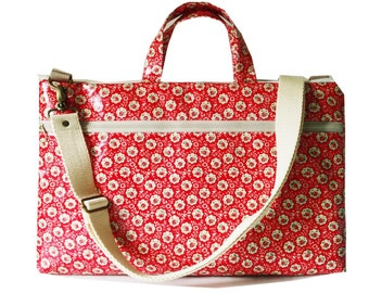 "Waterproof - 15"" Macbook or Laptop bag with handles and detachable shoulder strap- Foral"