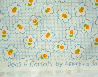 Peas & Carrots American Jane cherries light blue fabric FQ