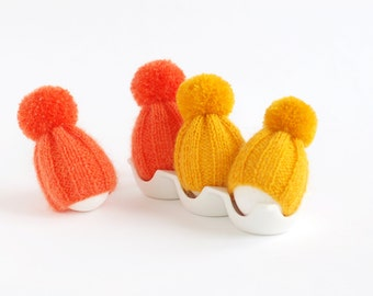 SALE 10% OFF egg warmers in yellow and orange