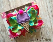 Ice Cream Cone Boutique Style Hair Bow Purple Lime Green Hot Pink Orange Turquoise