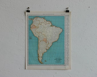 Vintage Map-South America-Early 20th Century